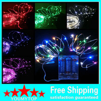 außenbatterie weihnachtsdekoration großhandel-Batteriebetriebene LED Kupfer Silberdraht Lichterketten String 50Leds 5M Weihnachten Xmas Home Party Dekoration Seed Lampe Outdoor