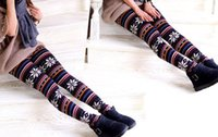 Wholesale Ladies Christmas Leggings - 2014 cheapest Factory price Lady Leggings Imitation cashmere Snowflakes fawn tights women Ninth pants 24 designs 90cm for Christmas
