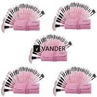 Wholesale Eyebrow Powder For Wholesale - 5 Sets Vander Pink 32pcs Professional Makeup Brushes Set Cosmetics Eyebrow Shadow Powder Tools Kit with Bag for Women Beauty