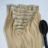 Wholesale clip human hair extensions 8pcs online - 280g inch Brazilian Clip in hair Extension human hair Bleach Blonde Remy Straight Hair weaves set free comb