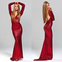 Red sexy Backless Abiti da cocktail con abiti a maniche lunghe paillettes scollo a V Mermaid vestito da partito su ordine di sera