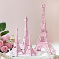 Wholesale Eiffel Centerpieces - Romantic Pink Paris 3D Eiffel Tower model Alloy Eiffel Tower Metal craft for Wedding centerpieces table centerpiece