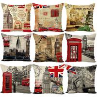 Wholesale London Decorative Pillow - New British Style London Home Decorative Sofa Cushion Cover Throw Pillow Case Vintage Cotton Linen Square Cute AL001