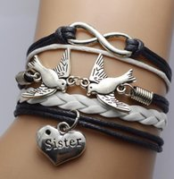 ingrosso fascini del braccialetto degli uccelli di amore-DHL Friendship Infinity Bracciali Love Bird Sister Sideways Charm Infinity Leather Wrap Wristband Ragazze Regalo di Natale per le donne
