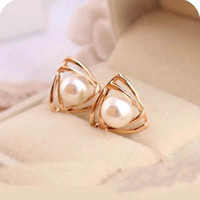 Wholesale Gold Layer Earrings - Glossy Double Layer Triangle Pearl Earrings Gold Plated Stud Earrings for Women Jewelry