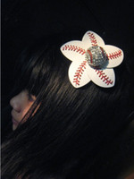 Wholesale clip hairbow for sale - 2018 yellow softball white baseball stitching really leather flowers with big crystal hair clips whosale retail hairbow