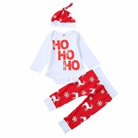 Wholesale Toddler Girl Romper Long Leg - Newborn BABY Clothes Kids Romper Suit Toddlers Clothing Set Long Sleeve Shirt Tops Rompers Legging Harem Pants deer Hat Red Outfit A7896