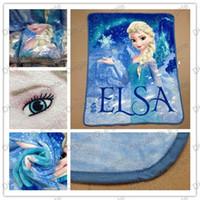 Wholesale Blue Blankets - Free DHL shpping Frozen Elsa Raschel Blanket frozen Dairy queen elsa adventures Frozen anime raschel blankets NEW 2014 HOT IN STOCK 5pcs lot