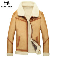 Wholesale Large Faux Fur Hats - Wholesale- Kenntrice Winter Outerwear Mens Leather Fur Coat Male Leather Jacket Fleece Lined Velvet Thick Slim Thermal Large Fourrure