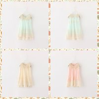Wholesale Girls Summer Blue Dresses - 2016 Spring Kids Girls Party Dress Princess Lace Pearls Collar Sleeveless Summer Dress Multi Color Dress 5pcs lot Wholesale