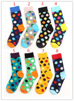 Wholesale Happy socks styles fashion high quality men s polka dot socks men s casual cotton socks pairs