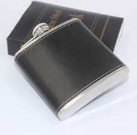 Wholesale 6oz pocket hip flask resale online - 6oz Stainless Steel Hip Flasks Gift Creative Leather Whiskey Flagon Easy To Carry High Quality ls C R