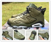 Wholesale Night Jacket - 100% brand new Air Retro 6 Flight Jacket Saturday Night Live Army Green men basketball shoes sports sneakers VI trainers size 7-13