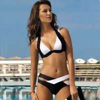 Wholesale floral halter top - New Women White Black Bandage Bikini Set Push Up Halter Top Swimwear Ladies Striped Floral Print Bikinis Sexy Beachwear CCF0226