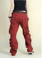 Wholesale Cargos Woman Lowers - Wholesale-New Arrive Plus Size colors Cargo Pants Women's Overall,Hip Hop Sport Loose Jeans Baggy Pants For Women