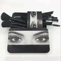Wholesale Metal Shadow Box - Hot 12pcs Set Professional Makeup Brush beauty Brush Cosmetic Make up Blush Brush Eye shadow brushesTool with Metal Box
