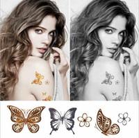 Wholesale Hot Lips Tattoos - 1 PCS Hot Flash Metallic Waterproof Temporary Tattoo Gold Silver Tatoo Women Henna Flower Taty Design Tattoo Sticker 10*6