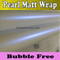 Wholesale Film Releases - Pearl satin white blue Vinyl wrap Car wrap Film with air release pearlescent White MATT Size: 1.52*20m Roll