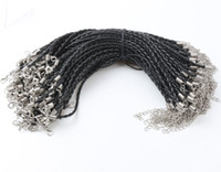 Wholesale Silver Braided Bracelets - 100ps lot 21Colors 20+5cm Leather Braided Charm Chain Bracelets Love For Bead lobster Clasp Link Chains