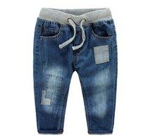 Wholesale Boys Size 3t Jeans - Wholesale-sIZE 15345437 Retail 2015 New Fashion Boy Jeans Solid Patchwork Distrresses Elastic Waist Boy Pants Denim