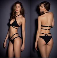 Wholesale Triangle Swimwear Pads - Womens Bandage Push-up 2 Pieces Bikini Set Padded Bra Triangle Swimsuit Swimwear