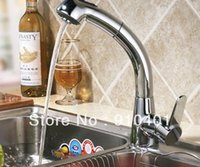 Wholesale Cheap Kitchen Pull Out Faucets - Cheap Brass Single Handle Kitchen Mixer Chrome Finished Sink Faucet Swivel Spout Deck Mounted Offer Hot And Cold Water Pull Out
