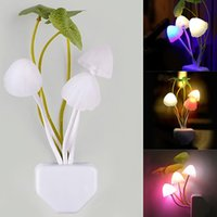 Wholesale Small Plugging Lamp - VLED Mushroom Night Light colorful small night light led light night lamp plug energy saving wall lamp bedroom bedside lighting gadget