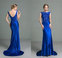 Wholesale Elegant Beaded Satin Wedding Dress - Royal blue Mermaid Evening Dresses Long satin Backless Bateau Lace Applique Beaded Elegant Sweep train Wedding prom gown Party formal Wear W