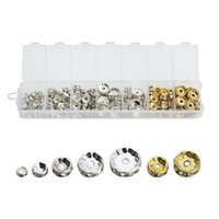 360pcs Brass Rhinestone Spacer Beads 4/6/7/8/10 / 12mm Grade A Rondelle Jóias Makings Achados SilverGold Color