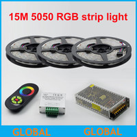 Wholesale 15m Led Strip Controller - NEW arrive 300led 15M 900led 5050 RGB No-Waterproof SMD 60Leds M Flexible Led Strip+18A Wireless RF Dimmer Remote Controller+15 A Power