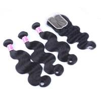 Wholesale human hair parts for sale - AiS Brazilian Virgin Human Hair Bundles With Closures Extensions Bundles With x4 Closure Straight Body Wave
