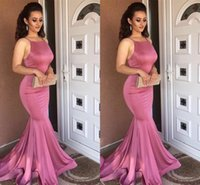 Wholesale Stretch Satin Halter Dress - Amazing Halter Neck Mermaid Long Evening Dresses Stretch Satin Backless Prom Dresses Formal Evening Gowns Special Occasion Dresses