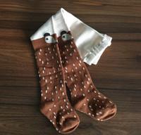 Wholesale Pantyhose Cotton Socks For Children - Korean Children Long Socks Kids Baby Knit Sock Pant Spring Autumn Wear Girl Leggings Cartoon Fox Pantyhose For 0-4T Years Kids DB-76