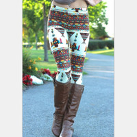 Wholesale Snowflake Print Leggings - 2016 Aztec Leggings For Women Stretchy Knit Christmas Snowflake Leggins Ankle Length Tribal Printed Casual Skinny Slim Legging