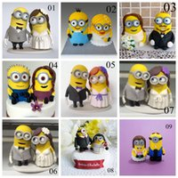 Wholesale Wedding Cakes Yellow - Fashion Yellow Cake Doll Cake Toppers Hand Made 2016 New Arrive Fashion Cheap Modest 8-9cm Height For Wedding Bridal Cake Topper Party Table