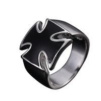 Wholesale White Enamel Vintage Ring - Ajojewel Brand Size 6-11 Fashion Jewelry Vintage Cool Classic 18K White Gold Plated Enamel Black Cross Ring For Men