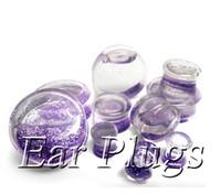 Wholesale Liquid Glitter Plugs - Wholesale transparent acrylic purple glitters liquid plug gauges saddle ear plug double flare ear expander mix 10mm-25mm 48pcs lot DSP158
