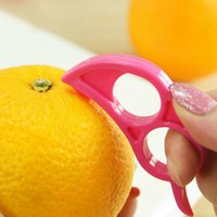 Wholesale Orange Color Kitchen - New Arrival Easy Opener Lemon Orange Peeler Slicer Cutter Plastic Kitchen Tools Color Random Drop Shipping HG-1154