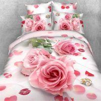 Wholesale 3d Doona Covers - Wholesale-Cheap 3d bedding set bed set bedcover duvet cover doona cover set sheet pillowcase queen king bed linen pink rose