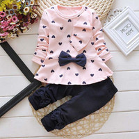 Wholesale Top Fashion Outfits For Kids - New Fashion 2Pcs Baby Kids Girls Long Sleeve Bowknot Dots Printed Tops+Pants Sets Outfits For Age 1-6 Years