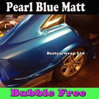 Wholesale Matt Blue Wrap - Premium Pearl Blue Matte Vinyl Wrap Air Release Electric Blue Matt Pearl Car Wrap Film Vehicle Covers size 1.52x30m Roll Free Shipping Fedex