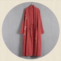 Wholesale han chinese clothing - Wholesale- Chinese Style Hand-painted Cotton Windbreaker Jacket Girls Long Cardigan Han Chinese Clothing Women