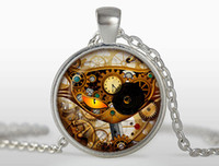 Wholesale Cat Face Necklace - Steampunk glass cat pendant clock necklaces personality charms Silver round glass dome pendant Jewelry FTC-N324