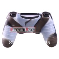 Vente en gros duable 1 PCS silicone étui de protection en caoutchouc Gel Cover Grip de peau pour Playstation 4 PS4 Controller Brown Blanc Camo