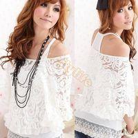 blanco de blusas tops al por mayor-Mujeres Blanco ocasional de dos piezas de blusas de encaje camisas de las señoras de la manga del Batwing del hombro Tops # 012 SV002432