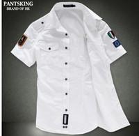 Wholesale Sailor White Uniform - Free shipping NEW Fashion airforce uniform military short sleeve shirts men's dress shirt free shipping Bcy60