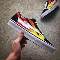 Wholesale Fabric Pop Up - 2017 Kanye West Revenge X Storm Pop-Up Black flam Joint Limited Ian Connors Skateboarding Shoes Vanse Men Women Skateboarding Shoes With Box