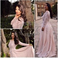 Wholesale formal africa dresses for sale - 2016 Illusion Blush Prom Dresses Sequined Chiffon Applique Long Sleeves Formal Gowns Evening Wear Party Dress Africa Party Dress