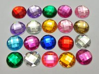 Wholesale acrylic faceted beads - Wholesale-200 Hot Pink Acrylic Flatback Rhinestone Faceted Round Gems 12mm No Hole