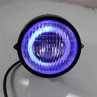 Wholesale Head Light Yamaha - Black LED Angel Eye Head Light Headlight for Harley Honda Yamaha Kawasaki Suzuki